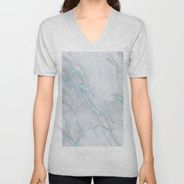 Marble Love Sea Blue Metallic Unisex V-Neck