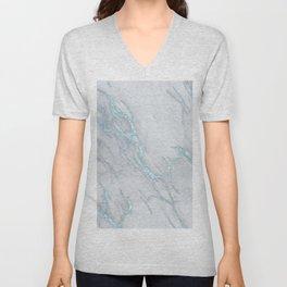 Marble Love Sea Blue Metallic Unisex V-Neck