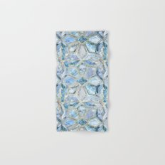 Geometric Gilded Stone Tiles in Soft Blues Hand & Bath Towel