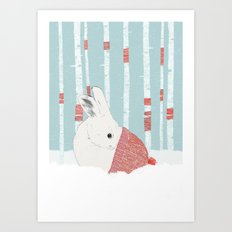 A cold winter for bunnies Art Print