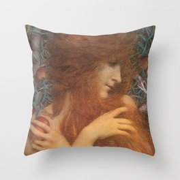 The Woman and the Serpent portrait painting by Lucien Levy Dhurmer Throw Pillow