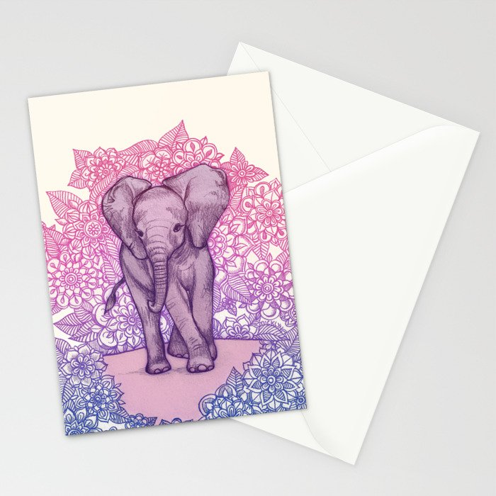 Cute Baby Elephant in pink, purple & blue Stationery Cards