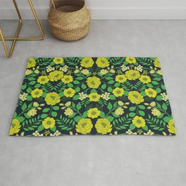 Kelly Green, Navy Blue, Lime & Yellow Floral Pattern Rug