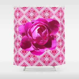 FUCHSIA  PINK PEONY PATTERNED ART Shower Curtain