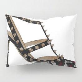 Leopard Valentino Rockstud pumps fashion illustration pink  Pillow Sham