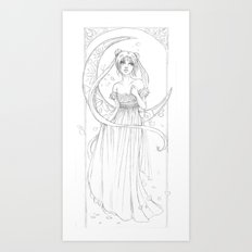 Sailor Moon-B&W Art Print