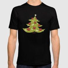 Cat Christmas Tree Mens Fitted Tee MEDIUM Black