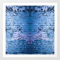 Blue Brick Wall Art Print