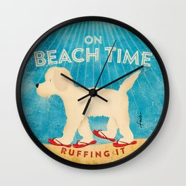 Beach Life Doodle by Stephen Fowler Wall Clock