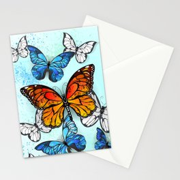 Background with Monarchs and Morpho Stationery Cards