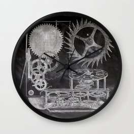 black and white vintage patent print chalkboard steampunk clock gear Wall Clock