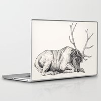 stag Laptop & iPad Skins featuring Stag // Graphite by Sandra Dieckmann