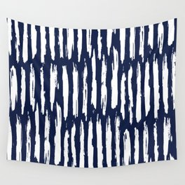 Vertical Dash White on Navy Blue Paint Stripes Wandbehang