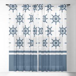 Sailing wheel pattern Sheer Curtain