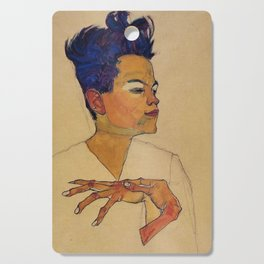 SELF PORTRAIT WITH HANDS ON CHEST - EGON SCHIELE Cutting Board