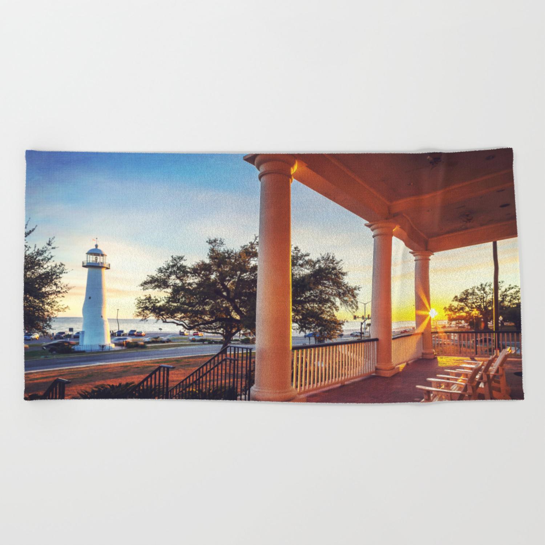 Biloxi Lighthouse Sunset Beach Towel By Jmccool Society6