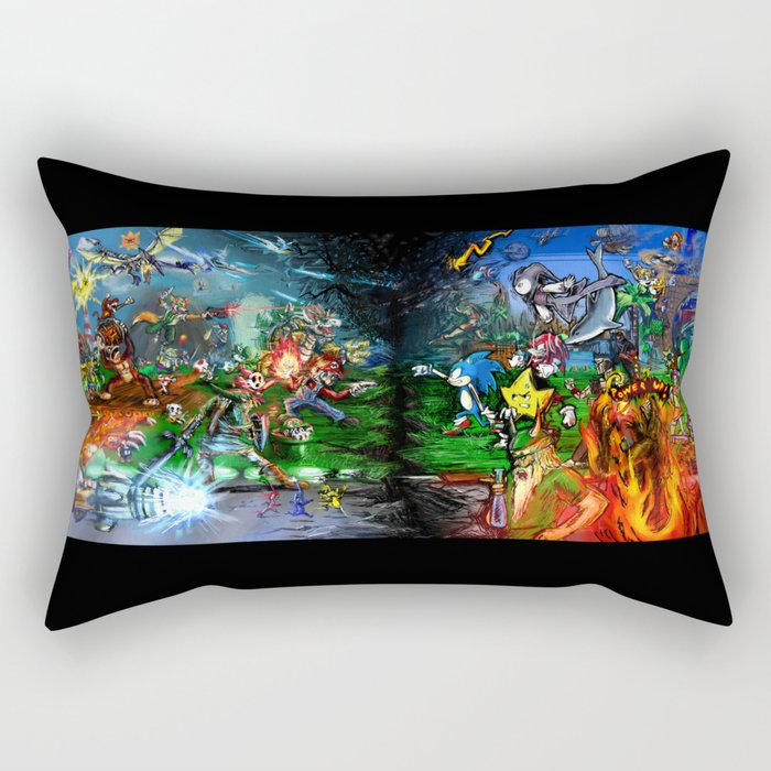Nintendo Vs Sega Rectangular Pillow