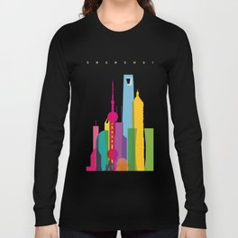 Shapes of Shanghai. Accurate to scale Long Sleeve T-shirt