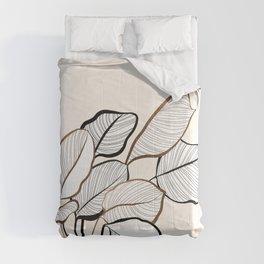 Botanical Calathea line-art nº1 Comforters