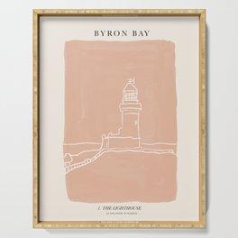 Byron Bay Lighthouse   Simple Line Art Drawing   East Coast, Australia  Serving Tray