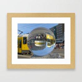 World Time Clock - seen through the crystal ball, Alex, Berlin / Glass Ball Photography Framed Art Print