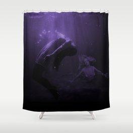 Mermaid Saves Drowning Victim in Purple Underwater Scene Shower Curtain
