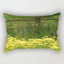 Daisies and Plumes at the Split Rail Fence Rectangular Pillow