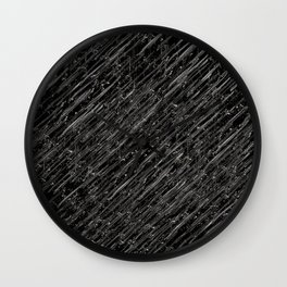 Ballpoint lines in White on Black Wall Clock