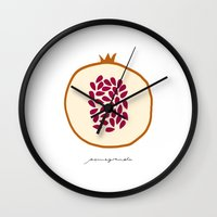 pomegranate Wall Clocks featuring POMEGRANATE by Lara Trimming
