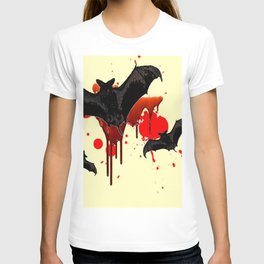 DECORATIVE FLYING BLACK BATS & HALLOWEEN BLOODY ART T-shirt