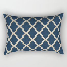 V3 Dark Blue Traditional Moroccan Pattern Texture. Rectangular Pillow