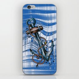 Blue anchor with stars iPhone Skin