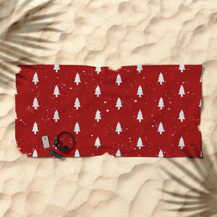 Cristmas Trees Pattern Red And White Beach Towel
