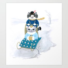 Winter Fun Cats Art Print