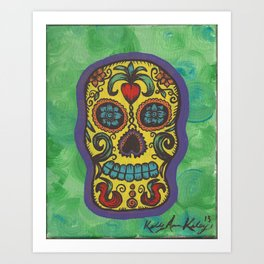 Yellow Pop Sugar Skull Art Print