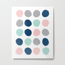 Zanthe - abstract trendy dots polka dots painted dot pattern blue pink pastel pantone color of the  Metal Print
