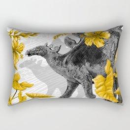 Jurassic Stegosaurus: Gold & Gray Rectangular Pillow