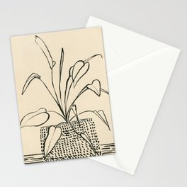 Line drawing leaves Stationery Cards