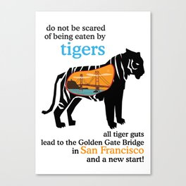 Tigers lead to the Golden Gate Bridge in San Francisco Canvas Print