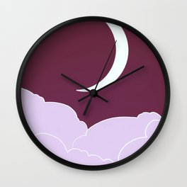 Crescent moon and clouds V15 Wall Clock