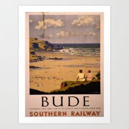 retro iconic Bude poster Art Print