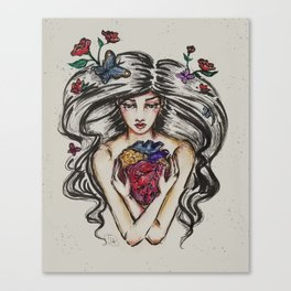 be still my beating heart anitomical love valentine tattoo brunette Canvas Print