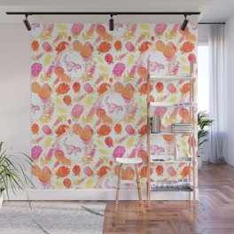 Beautiful Australian Print - Australian Native Florals with Possum Illustrations Wall Mural