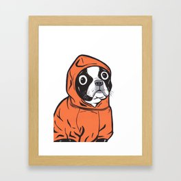 Boston Terrier Orange Hoodie Framed Art Print