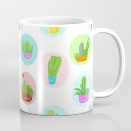 A Collection of Potted Cacti and Succulents With Borders Coffee Mug