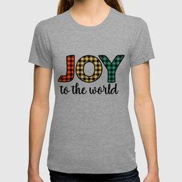 Joy To The World Plaid Pattern Christmas Holiday T-shirt