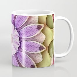 Stippled Flower Mandala Lavender Green Coffee Mug