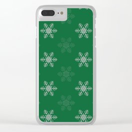 Snowflake Pattern   Winter   Hygge   Scandi   Green and White   Clear iPhone Case