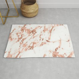 Rose Gold Marble - Perfect Pink Rose Gold Marble Rug