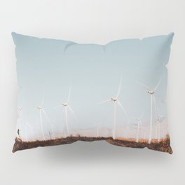 Wind turbine in the desert with summer blue sky at Kern County California USA Pillow Sham